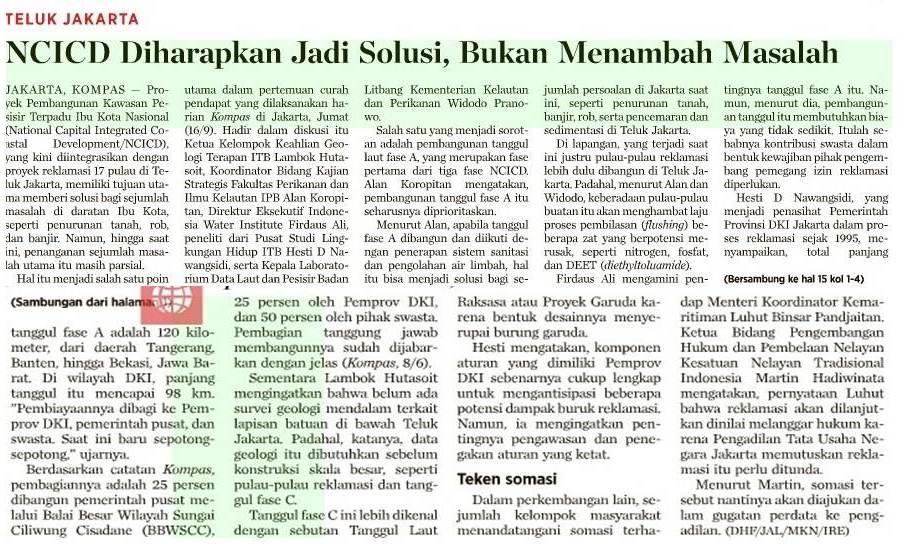 Koran Kompas Cetak, 17 September 2016