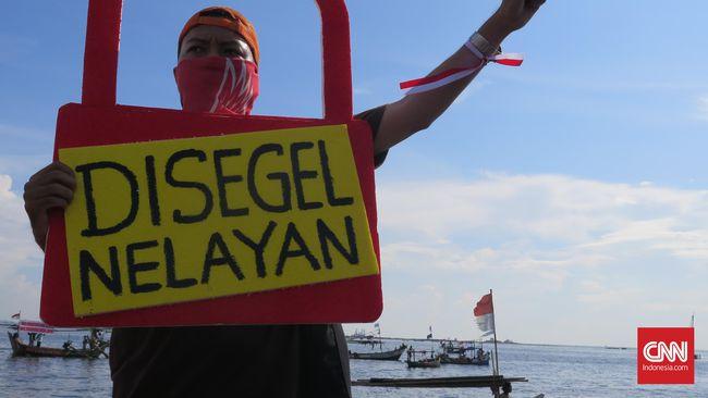 Aksi nelayan menolak reklamasi Pulau G. (CNN Indonesia/Aghnia Adzkia)